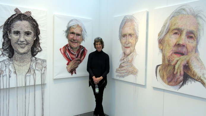 Artist Jenni Dutton with the images of her mother Gladys