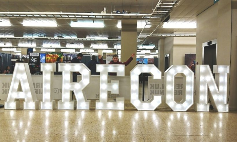 illuminated AireCon 2018 sign at Harrogate Convention Centre