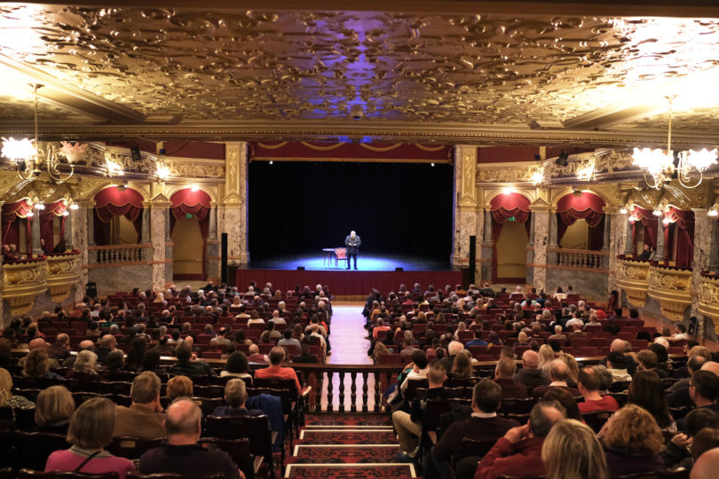 Brian Blessed in the Harrogate Royal Hall theatre