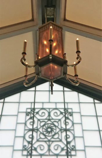 The restored Edwardian chandelier back in Royal Hall