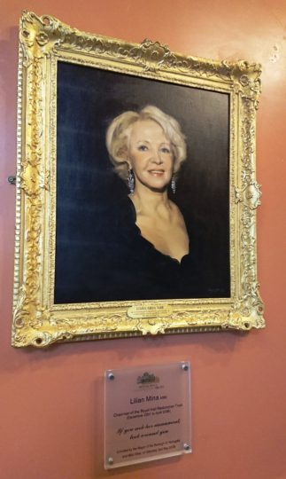 The portrait of Lilian Mina MBE in the Royal Hall