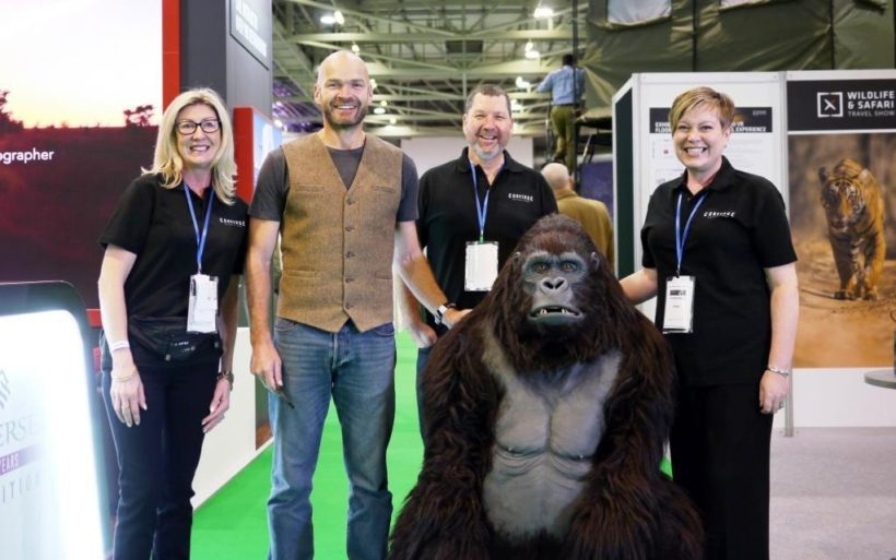 Adventurer Monty Halls (sencond from left) and the team from the Wildlife & Safari Travel Show