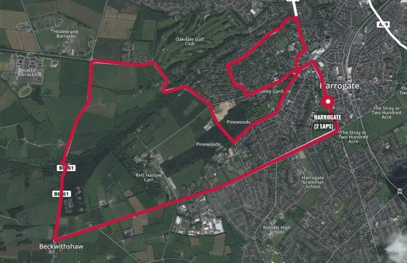 The Harrogate time trial route fro the UCI riders