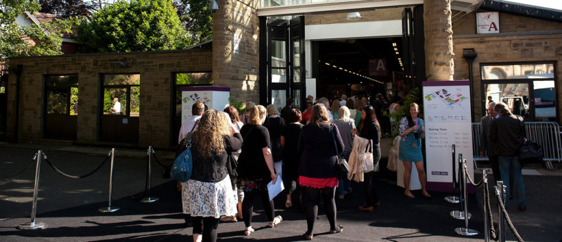 Exhibition delegates make their way into one of the halls at Harrogate Convention Centre