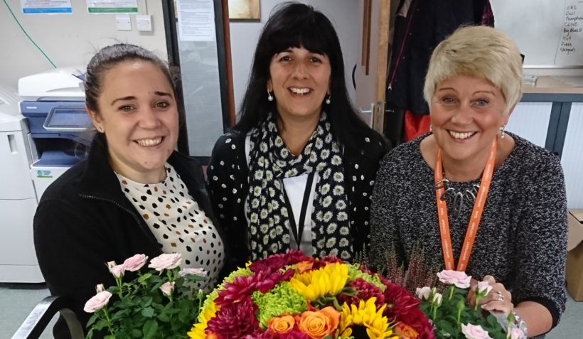 Members of Harrogate Convention Centre team with some of the flowers