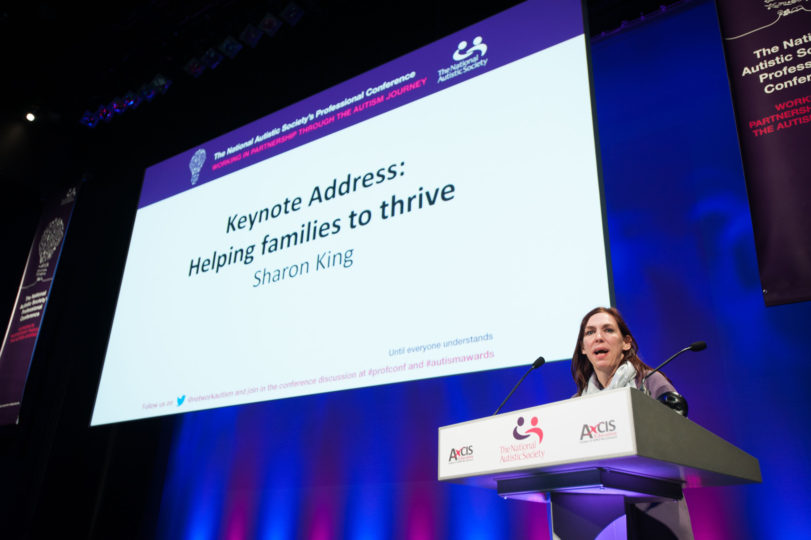 Sharon King delivering the keynote at National Autistic Society's Autism Professional Conference.